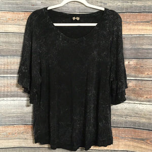 Cato acid wash bell sleeve top